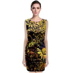 Amazing Neon Flowers B Classic Sleeveless Midi Dress