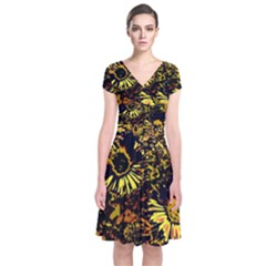 Amazing Neon Flowers B Short Sleeve Front Wrap Dress