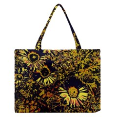 Amazing Neon Flowers B Zipper Medium Tote Bag