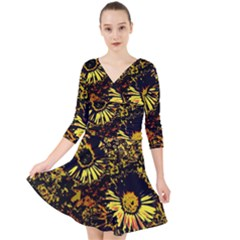 Amazing Neon Flowers B Quarter Sleeve Front Wrap Dress
