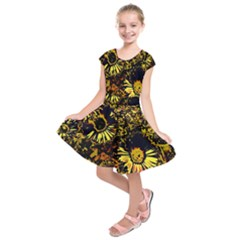 Amazing Neon Flowers B Kids  Short Sleeve Dress
