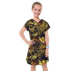 Amazing Neon Flowers B Kids  Drop Waist Dress