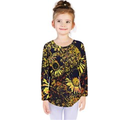 Amazing Neon Flowers B Kids  Long Sleeve Tee