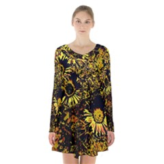 Amazing Neon Flowers B Long Sleeve Velvet V Neck Dress