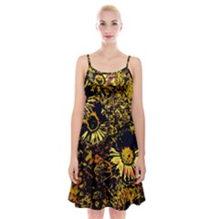 Amazing Neon Flowers B Spaghetti Strap Velvet Dress