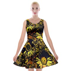 Amazing Neon Flowers B Velvet Skater Dress
