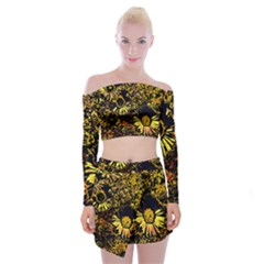 Amazing Neon Flowers B Off Shoulder Top With Mini Skirt Set