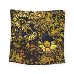 Amazing Neon Flowers B Square Tapestry (small)