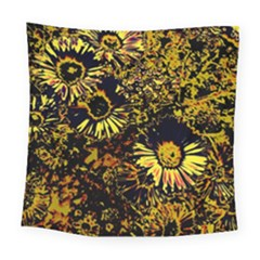 Amazing Neon Flowers B Square Tapestry (large)