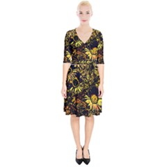 Amazing Neon Flowers B Wrap Up Cocktail Dress