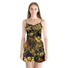 Amazing Neon Flowers B Satin Pajamas Set