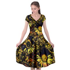 Amazing Neon Flowers B Cap Sleeve Wrap Front Dress