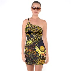 Amazing Neon Flowers B One Soulder Bodycon Dress