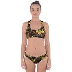 Amazing Neon Flowers B Cross Back Hipster Bikini Set