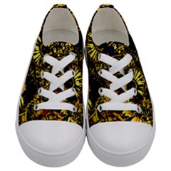 Amazing Neon Flowers B Kids  Low Top Canvas Sneakers