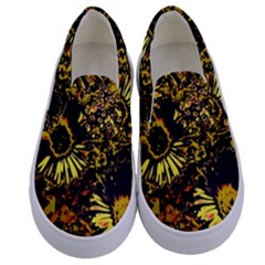Amazing Neon Flowers B Kids  Canvas Slip Ons
