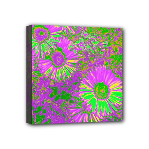 Amazing Neon Flowers A Mini Canvas 4  X 4