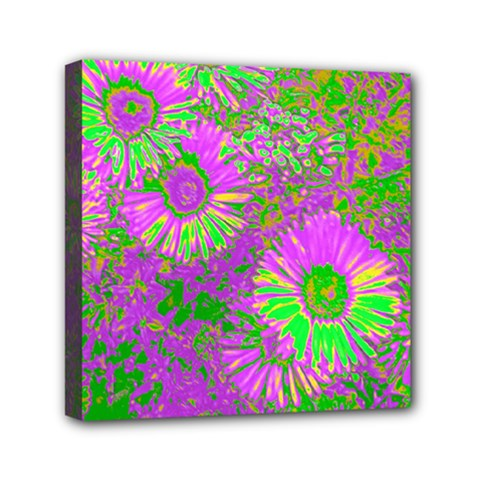 Amazing Neon Flowers A Mini Canvas 6  X 6