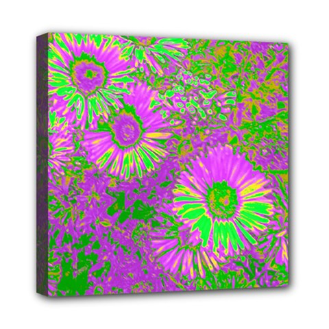 Amazing Neon Flowers A Mini Canvas 8  X 8
