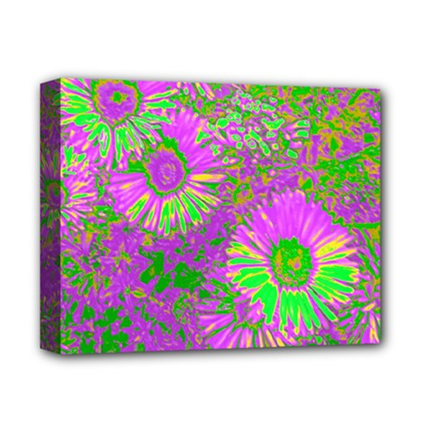 Amazing Neon Flowers A Deluxe Canvas 14  X 11