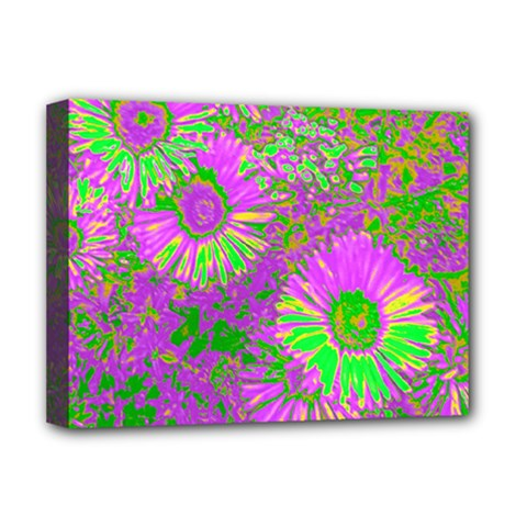 Amazing Neon Flowers A Deluxe Canvas 16  X 12