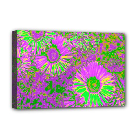 Amazing Neon Flowers A Deluxe Canvas 18  X 12