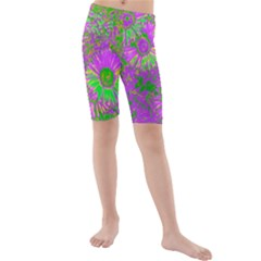 Amazing Neon Flowers A Kids  Mid Length Swim Shorts