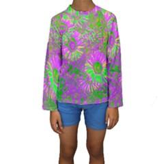 Amazing Neon Flowers A Kids  Long Sleeve Swimwear
