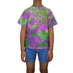 Amazing Neon Flowers A Kids  Short Sleeve Swimwear