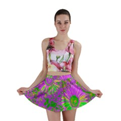 Amazing Neon Flowers A Mini Skirt