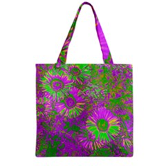 Amazing Neon Flowers A Grocery Tote Bag
