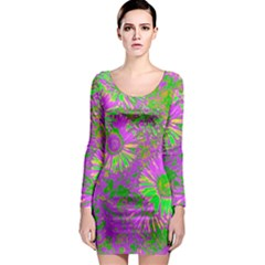 Amazing Neon Flowers A Long Sleeve Bodycon Dress