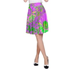 Amazing Neon Flowers A A Line Skirt