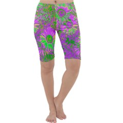 Amazing Neon Flowers A Cropped Leggings