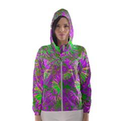 Amazing Neon Flowers A Hooded Wind Breaker (women)