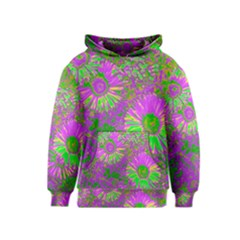 Amazing Neon Flowers A Kids  Pullover Hoodie