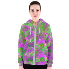 Amazing Neon Flowers A Women s Zipper Hoodie