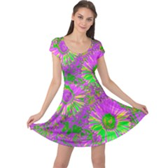 Amazing Neon Flowers A Cap Sleeve Dress