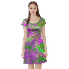 Amazing Neon Flowers A Short Sleeve Skater Dress
