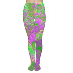Amazing Neon Flowers A Women s Tights