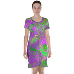 Amazing Neon Flowers A Short Sleeve Nightdress