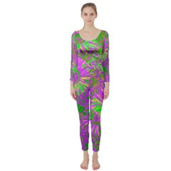 Amazing Neon Flowers A Long Sleeve Catsuit