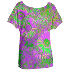 Amazing Neon Flowers A Women s Oversized Tee