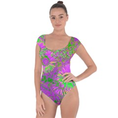 Amazing Neon Flowers A Short Sleeve Leotard