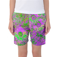 Amazing Neon Flowers A Women s Basketball Shorts