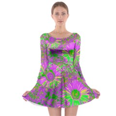 Amazing Neon Flowers A Long Sleeve Skater Dress
