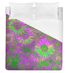 Amazing Neon Flowers A Duvet Cover (queen Size)