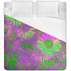 Amazing Neon Flowers A Duvet Cover (king Size)