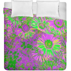 Amazing Neon Flowers A Duvet Cover Double Side (king Size)
