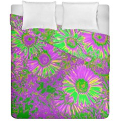 Amazing Neon Flowers A Duvet Cover Double Side (california King Size)